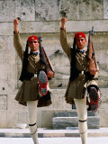 Evzones (Royal Guards) Performing Changing of Guard at Parliament Building, Athens, Greece Photographic Print by Anders Blomqvist