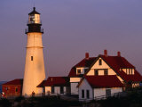 Dusk at Portland Head Lighthouse on Cape Elizabeth, Fort Williams State Park, USA Photographic Print by Levesque Kevin