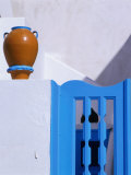 Terracotta Urn, Blue Gate and Whitewashed Walls, Santorini Island, Southern Aegean, Greece Photographic Print by Jan Stromme