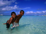 Young Boys Playing in Water at White Beach, Boracay Island, Aklan, Philippines Fotografiskt tryck av Mark Daffey