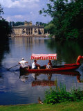 Boating in Lazienki Park with Palace on the Isle Behind, Warsaw, Poland Photographic Print by Krzysztof Dydynski