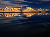 Ben Ohau Range Reflected in Tekapo Canal, Canterbury, New Zealand Photographic Print by David Wall
