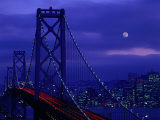 The Bay Bridge with a Full Moon and City Skyline, San Francisco, California, USA Photographic Print by Jan Stromme