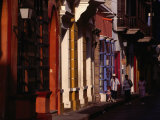 Children Walking Past Colonial Facades on Cartagena De Indias, Cartagena, Colombia Photographic Print by Alfredo Maiquez