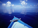 Bow of Wooden Boat and Ocean, Maldives Photographic Print by John Borthwick