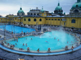Three Outdoor Naturally Heated Pools and Several Indoor Pools at Szechenyi Baths, Budapest, Hungary Photographic Print by David Greedy