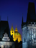 Dusk Lights the Charles Bridge Towers and Church in the Old Town, Prague, Czech Republic Photographic Print by Jan Stromme