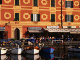 Rowing Boats Docked in Front of Buildings, Santa Margherita, Liguria, Italy Photographic Print by Stephen Saks