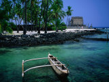 An Outrigger Canoe on the South Kona Coast, Puuhonua O Honaunau National Park, Hawaii, USA Photographic Print by Ann Cecil