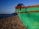 Weathered Wooden Boat Prow on Beach, Tela, Atlantida, Honduras Photographic Print by Jeffrey Becom