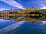 Hilly Countryside and Sky Mirrored in Lake Hayes, Near Arrowtown, Queenstown, Otago, New Zealand Photographic Print by David Wall