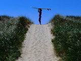 Surfer Carrying Board on Dunes at Long Point, Martha's Vineyard, Massachusetts, USA Photographic Print by Lou Jones