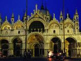 Night View of the Basilica Di San Marco, Venice, Veneto, Italy Photographic Print by Glenn Beanland