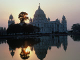 Victoria Monument Reflected in River, Kolkata, India Photographic Print by Eric Wheater