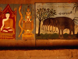 Mural in Buddhist Monastery at Xishuangbanna, Yunnan, China Photographic Print by Diana Mayfield