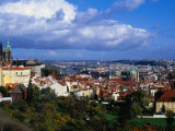 City from Terrace of Restaurant in Mala Strana, Prague, Czech Republic Photographic Print by Richard Nebesky