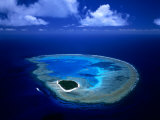 Aerial View of Island and Surrounding Reefs, Australia Photographic Print by Manfred Gottschalk