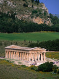 Ancient Doric Temple in Front of Mountain, Segesta, Sicily, Italy Photographic Print by Stephen Saks