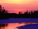 Partly Frozen River Near Arctic Circle, Kuusamo, Finland Photographic Print by David Tipling