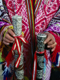 Decorative And Symbolic Silverwork On End Of Staves Used At Inti Raymi Festival, Sacsayhuaman, Peru Lmina fotogrfica por Richard I'Anson