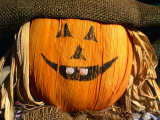 Halloween Face on Scarecrow, Rockies Region Creston, British Columbia, Canada Photographic Print by Barnett Ross