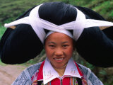 Portrait of Girl from the Long Horn Miao Minority with Ancestral Hair Woven into Headpiece, China Photographic Print by Keren Su