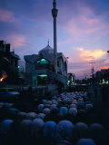 People Praying on Street Outide Mosque, Peshawar, Pakistan Photographic Print by Richard I'Anson