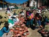 Traders Selling Hand Crafted Pottery at Market in San Pedro Village, Cuzco, Peru Photographic Print by Richard I'Anson