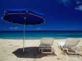 Blue Parasol and Beach Chairs on Manele Bay, Hulopoe Beach, Lanai, Hawaii, USA Photographic Print by Karl Lehmann