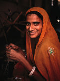 Portrait of Woman Working in Carpet Factory, Jaipur, Rajasthan, India Photographic Print by Richard I'Anson