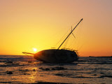 Sailboat Wrecked by Hurricane on Kona, USA Photographic Print by Casey Mahaney