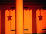Lantern Shadows on an Orange Wall of the Heian Shrine, Kyoto, Kinki, Japan, Photographic Print by Frank Carter