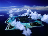 Aerial View of Islands and Surrounding Reefs, French Polynesia Photographic Print by Manfred Gottschalk