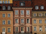 Facade of Buildings in Stare Mistro, Old Town Square, Warsaw, Mazowieckie, Poland Lámina fotográfica por Mark Daffey