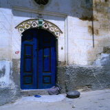 Deep Blue Door in the Village of Mustafapasa, Cappadocia, Nevsehir, Turkey Photographic Print by Wes Walker