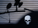 Graffiti and Shadows of Street Lamps on Garage Shutter Door, Tokyo, Japan Photographic Print by Martin Moos