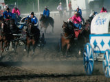 Chuck-Wagon Racing at the Calgary Stampede, Calgary, Canada Photographic Print by Rick Rudnicki