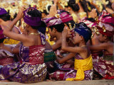 Children and Adults in Traditional Costume Praying at Pura Penataran Agung, Pura Besakih, Indonesia Photographic Print by Adams Gregory