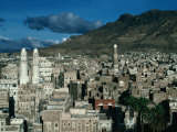 Buildings of Town with Mountain Behind, San'a, Yemen Photographic Print by Bethune Carmichael