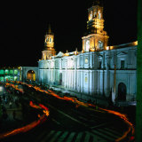 A Candlelit Procession makes its way around the Plaza de Armas., Lima, Peru Giclee Print