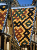 Multi-Coloured Tile Roof of Charity Hospital Hotel Dieu, Beaune, France Photographic Print by Levesque Kevin