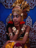 A Situ Dancer Relaxes on Temple Steps in Singapadu, Sampalan, Indonesia Photographic Print by Adams Gregory