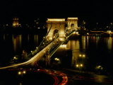 Chain Bridge Over the Danube River, Budapest, Hungary Photographic Print by Brent Winebrenner