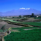 Terraced Fields at Arequipa with the Distant Volcano Chachani (The Beloved), Arequipa, Peru Fotografisk trykk av Wes Walker