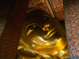 Face of Largest Reclining Buddha in Thailand, Wat Pho, Bangkok, Thailand Photographic Print by John Elk III
