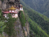 Taktsang (Tiger's Nest) Dzong Perched on Edge of Steep Cliff, Paro Valley, Bhutan Photographic Print by Keren Su