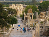 Overlook of Library with Tourists, Ephesus, Turkey Photographic Print by Joe Restuccia III