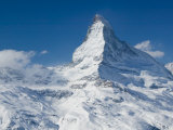 Winter View of The Matterhorn, Blauherd, Zermatt, Valais, Wallis, Switzerland Photographic Print by Walter Bibikow