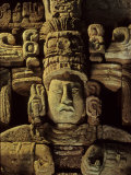 Dr. Webster, Barbara Fash, Corn God, Copan, Maya, Honduras Photographic Print by Kenneth Garrett