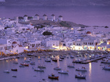Overview of Mykonos Town harbor, Mykonos, Cyclades Islands, Greece Photographic Print by Walter Bibikow